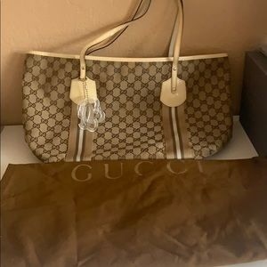 used Gucci logo tote bag with charm Authentic